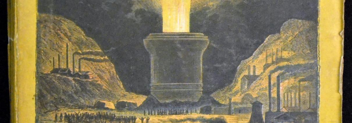 """Bucheinband einer der ersten Ausgaben von """"Von der Erde zum Mond"""" (Quelle: https://de.wikipedia.org/wiki/Datei:Thadewald_Wolfgang_Sammlung_Von_der_Erde_zum_Mond_Hartleben_1876.JPG, eingesehen am 13.06.2021, 21:42 MESZ)"""